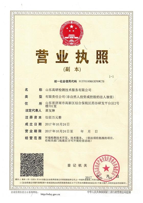 山东高研检测技术服务有限公司营业执照